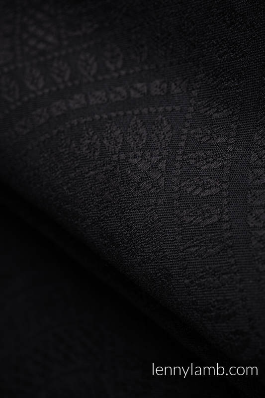 Baby Wrap, Jacquard Weave (59% cotton, 41% Merino wool) - PEACOCK'S TAIL - PITCH BLACK - size XL #babywearing
