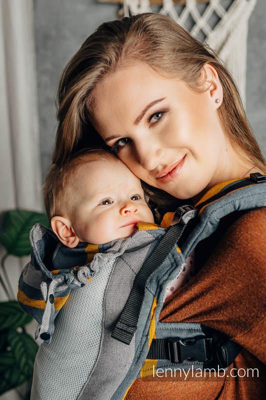 LennyGo Ergonomische  Mesh-Tragehilfe, Größe Baby, Kreuzköper-Bindung, 86% Baumwolle, 14% Poliester - SMOKY - HONEY #babywearing