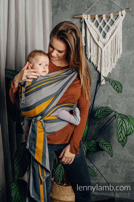 LennyHybrid Half Buckle Carrier, Standard Size, broken - twill weave 100% cotton - SMOKY - HONEY #babywearing
