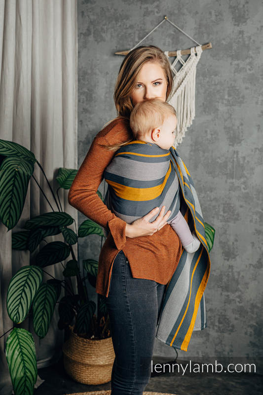 Ringsling, Broken twill Weave (100% cotton) - SMOKY - HONEY - standard 1.8m #babywearing