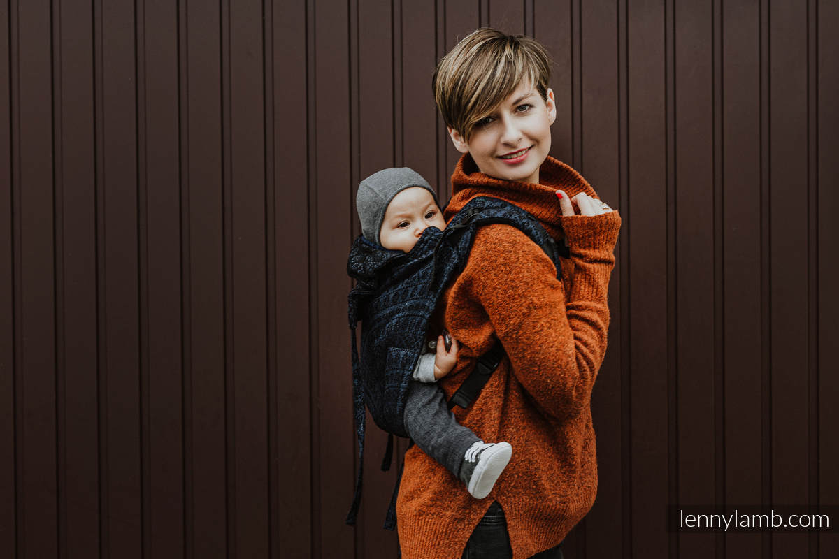 Lenny Buckle Onbuhimo baby carrier, standard size, jacquard weave (62% cotton 26% linen 12% tussah silk) - PEACOCK'S TAIL - SUBLIME #babywearing
