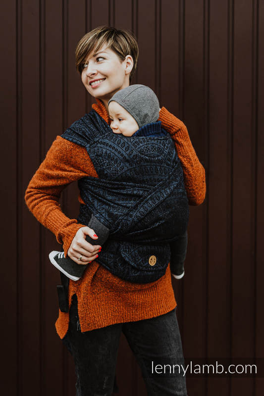 LennyHybrid Half Buckle Carrier, Standard Size, jacquard weave (62% cotton 26% linen 12% tussah silk) - PEACOCK'S TAIL - SUBLIME #babywearing