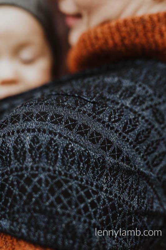 LennyHybrid Half Buckle Tragehilfe, Größe Standard, Jacquardwebung, (62% Baumwolle, 26% Leinen, 12% Tussahseide) - PEACOCK'S TAIL - SUBLIME #babywearing