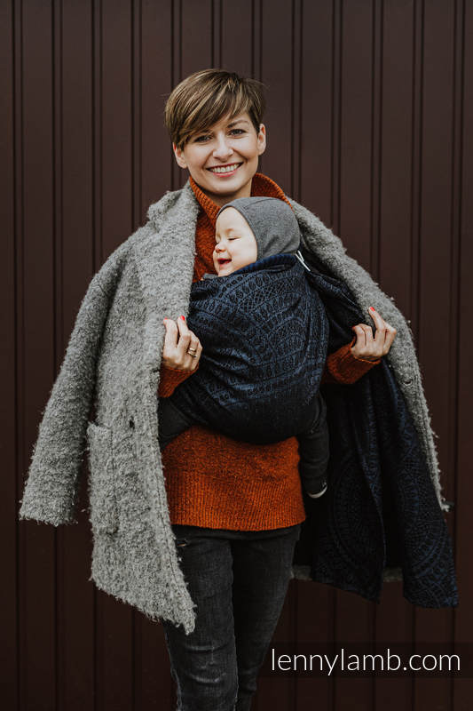 Ringsling, Jacquard Weave, with gathered shoulder (62% cotton 26% linen 12% tussah silk) - PEACOCK'S TAIL - SUBLIME -  standard 1.8m #babywearing