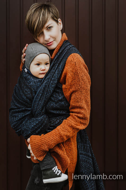 Baby Wrap, Jacquard Weave (62% cotton 26% linen 12% tussah silk) - PEACOCK'S TAIL - SUBLIME - size XS #babywearing