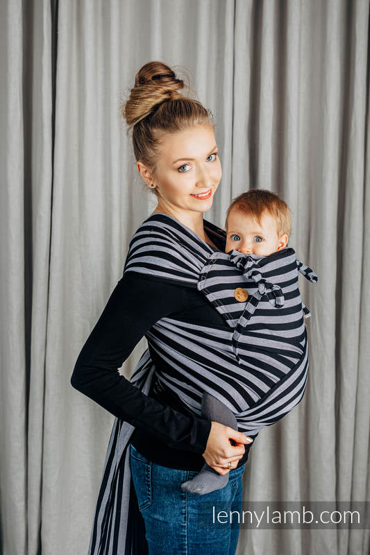 WRAP-TAI carrier Mini, broken-twill weave - 100% cotton - with hood - LIGHT AND SHADOW #babywearing