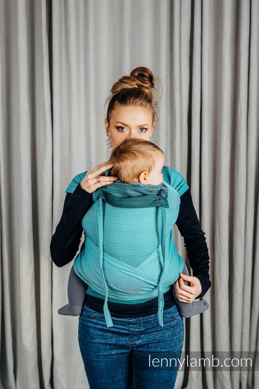 WRAP-TAI carrier Mini with hood/ herringbone twill / 100% cotton / LITTLE HERRINGBONE OMBRE TEAL  #babywearing