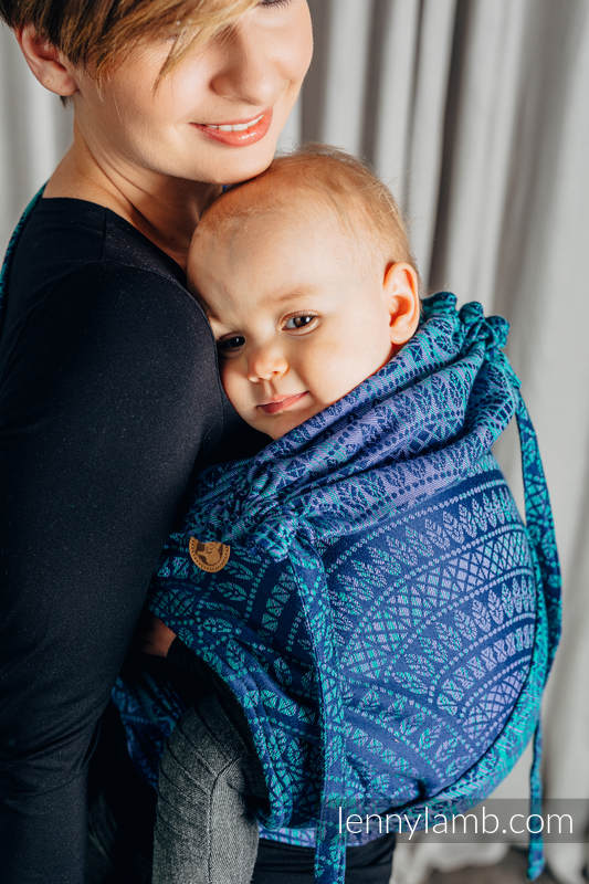 WRAP-TAI carrier Mini with hood/ jacquard twill / 100% cotton / PEACOCK'S TAIL - PROVANCE  #babywearing
