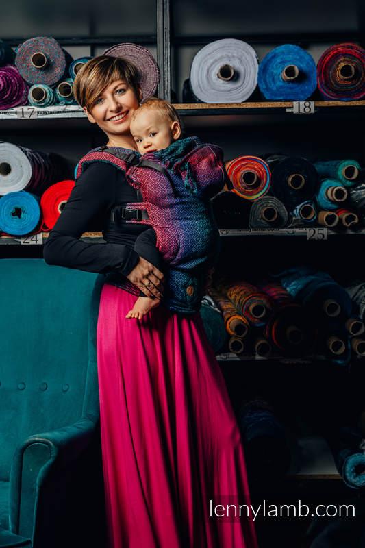 Nosidełko Ergonomiczne  LennyGo z tkaniny żakardowej (60% bawełna, 28% wełna merino, 8% jedwab, 4% kaszmir) , rozmiar Baby - BIG LOVE - CZARNY OPAL #babywearing