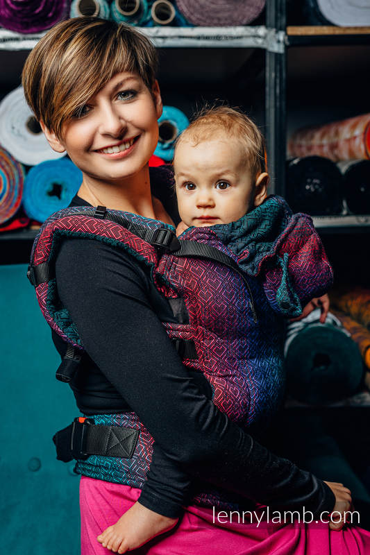 LennyGo Ergonomic Carrier, Baby Size, jacquard weave (60% cotton, 28% Merino wool, 8% silk, 4% cashmere) - BIG LOVE - BLACK OPAL #babywearing