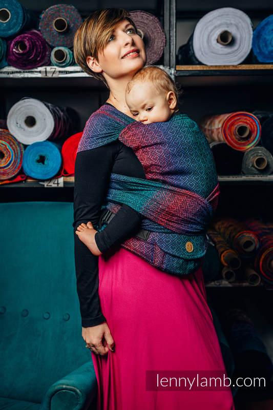 LennyHybrid Half Buckle Tragehilfe, Größe Standard, Jacquardwebung, 60% Baumwolle,28% Merinowolle, 8% Seide, 4% Kaschmir  - BIG LOVE - BLACK OPAL #babywearing