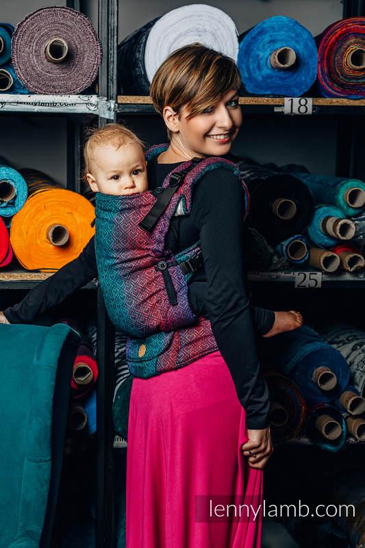 LennyUpGrade Carrier, Standard Size, jacquard weave (60% cotton, 28% Merino wool, 8% silk, 4% cashmere) - BIG LOVE - BLACK OPAL #babywearing
