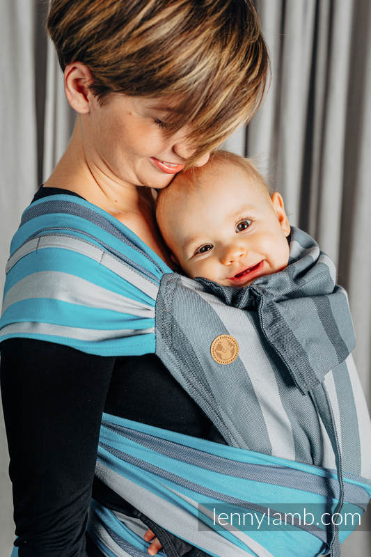 WRAP-TAI carrier Mini, broken-twill weave - 100% cotton - with hood, MISTY MORNING #babywearing