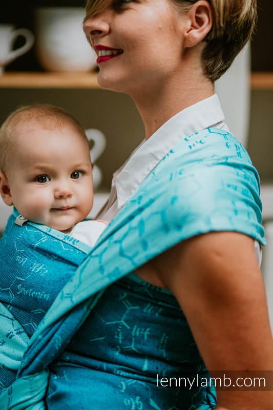 Baby Wrap, Jacquard Weave (72% cotton, 28% silk) - LOVE HORMONES - LOVE OCEAN - size S (grade B) #babywearing