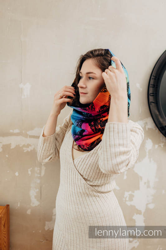 Snood Scarf (100% cotton) - LOVKA RAINBOW DARK & BLACK #babywearing