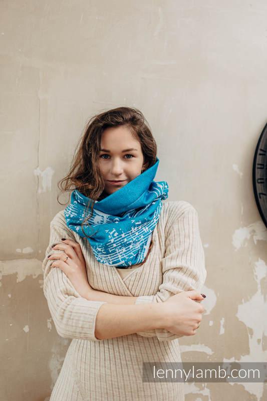 Snood Scarf (Outer fabric - 51% cotton, 30% merino wool, 10% silk, 5% cashmere, 4% metallised yarn; Lining - 100% cotton) - SYMPHONY - ICY & AQUAMARINE #babywearing