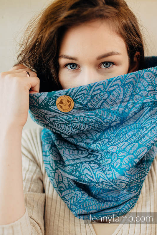 Snood Scarf (Outer fabric - 59% cotton, 28% Merino wool, 9% silk, 4% cashmere; Lining - 100% cotton) - WILD SOUL - LIBERTY & TURQUOISE #babywearing