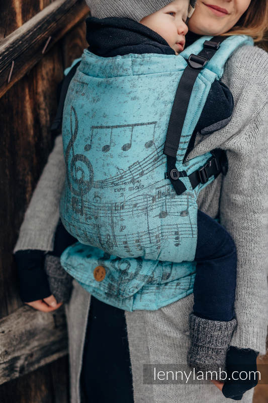 LennyUpGrade Carrier, Standard Size, jacquard weave, 74% cotton 13% linen 13% modal - SYMPHONY - BLUE MOON #babywearing