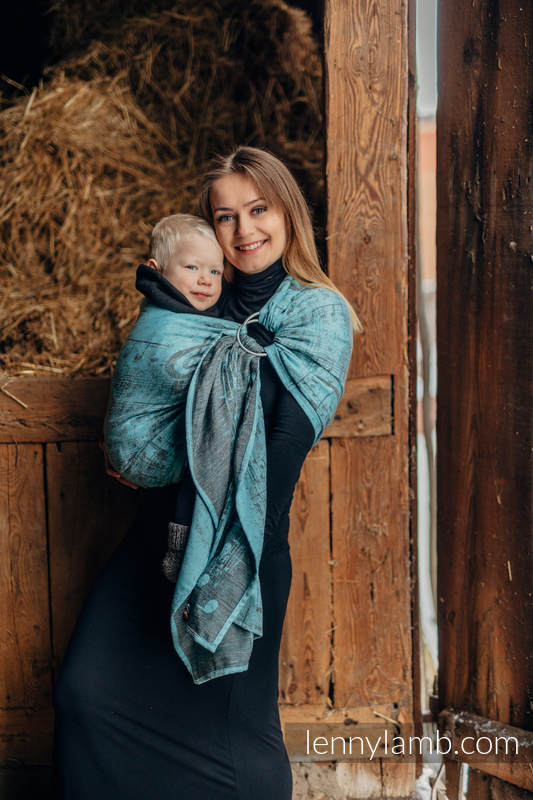 Ringsling, Jacquard Weave, with gathered shoulder (74% cotton 13% linen 13% modal) - SYMPHONY - BLUE MOON -  standard 1.8m #babywearing
