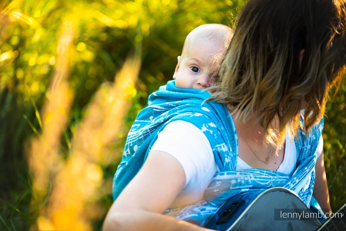 Tragetuch, Jacquardwebung (51% Baumwolle, 30% Merinowolle, 10% Seide, 5% Kaschmir, 4% Metallisiertes Garn) - SYMPHONY - ICY - Größe XS #babywearing