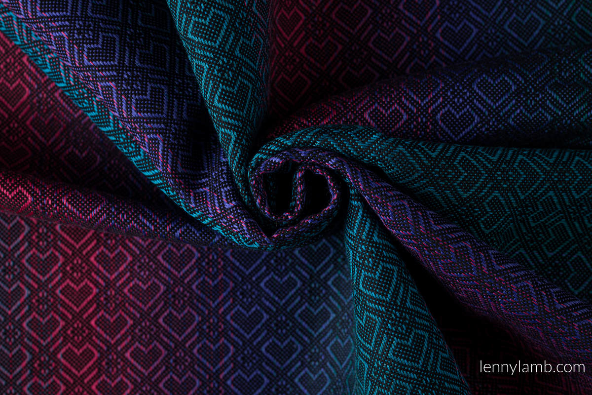 Ringsling, Jacquard Weave (60% cotton, 28% Merino wool, 8% silk, 4% cashmere), with gathered shoulder - BIG LOVE - BLACK OPAL - standard 1.8m #babywearing