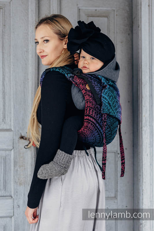 Lenny Buckle Onbuhimo baby carrier, Standard size, jacquard weave (60% cotton, 28% Merino wool, 8% silk, 4% cashmere) - PEACOCK'S TAIL - BLACK OPAL #babywearing