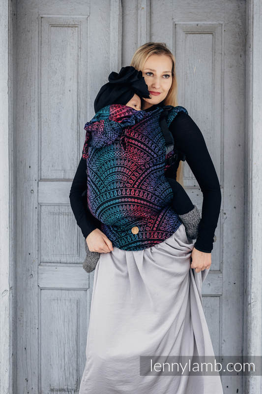 LennyGo Ergonomic Carrier, Baby Size, jacquard weave (60% cotton, 28% Merino wool, 8% silk, 4% cashmere) - PEACOCK'S TAIL - BLACK OPAL #babywearing