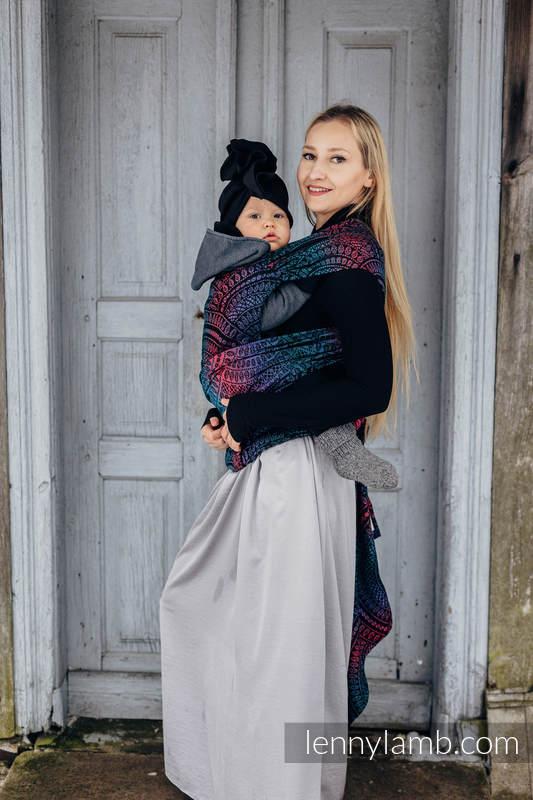 LennyHybrid Half Buckle Carrier, Standard Size, jacquard weave (60% cotton, 28% Merino wool, 8% silk, 4% cashmere) - PEACOCK'S TAIL - BLACK OPAL #babywearing