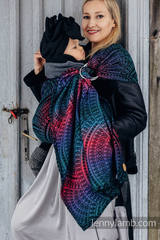 Ringsling, Jacquard Weave (60% cotton, 28% Merino wool, 8% silk, 4% cashmere), with gathered shoulder - PEACOCK'S TAIL - BLACK OPAL - standard 1.8m #babywearing
