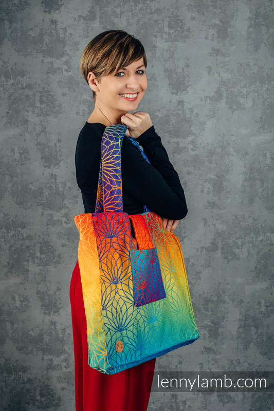 Shoulder bag made of wrap fabric (100% cotton) - RAINBOW LOTUS - standard size 37cmx37cm #babywearing
