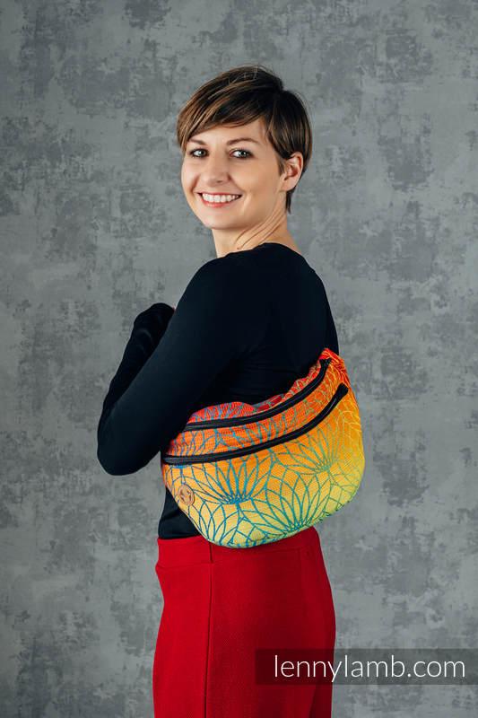 Saszetka z tkaniny chustowej, rozmiar large (100% bawełna) - TĘCZOWY LOTOS #babywearing