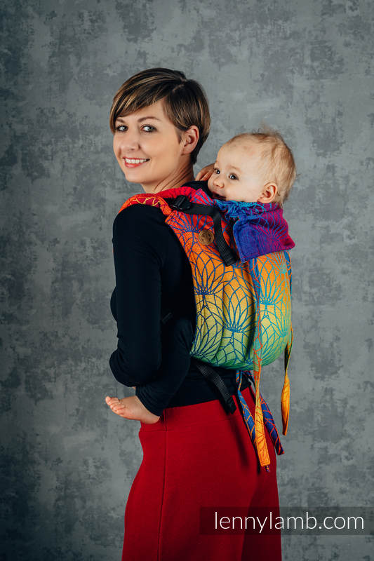 Lenny Buckle Onbuhimo baby carrier, standard size, jacquard weave (100% cotton) - RAINBOW LOTUS  #babywearing