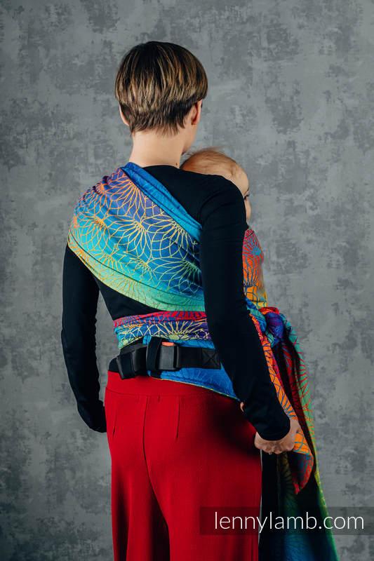 LennyHybrid Half Buckle Carrier, Standard Size, jacquard weave 100% cotton - RAINBOW LOTUS   #babywearing