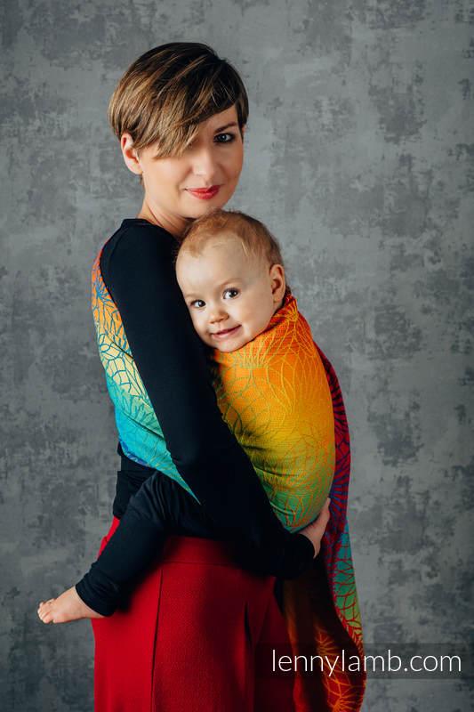 Ringsling, Jacquard Weave (100% cotton), with gathered shoulder - RAINBOW LOTUS - standard 1.8m #babywearing