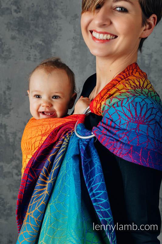 RingSling, Jacquardwebung (100% Baumwolle), mit Raffung an den Ringen - RAINBOW LOTUS - standard 1.8m #babywearing