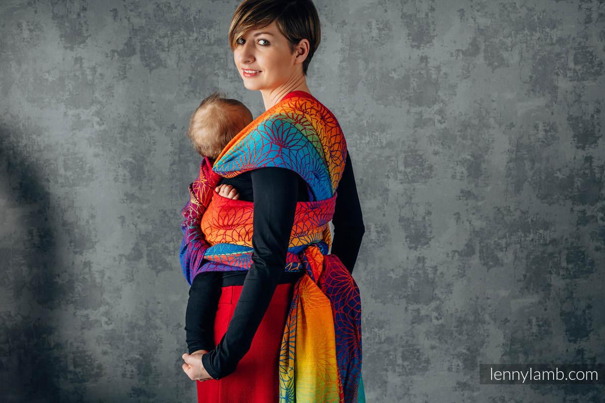 Baby Wrap, Jacquard Weave (100% cotton) - RAINBOW LOTUS - size XS #babywearing