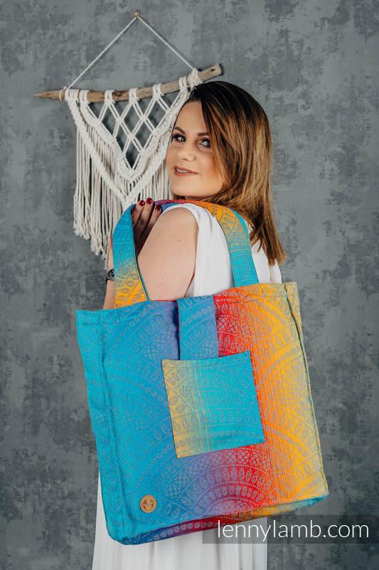 Bolso hecho de tejido de fular (100% algodón) - PEACOCK'S TAIL - SUNSET - talla estándar 37 cm x 37 cm #babywearing