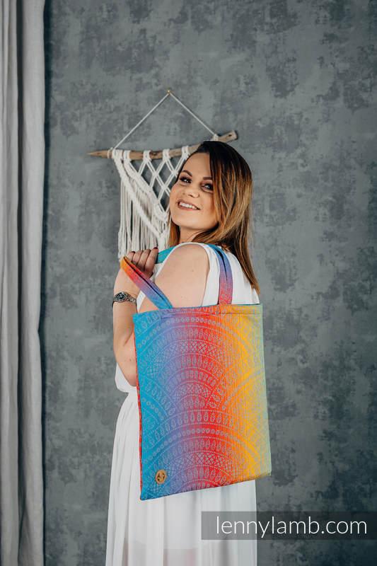 Torba na zakupy z materiału chustowego, (100% bawełna) - PAWI OGON - ZACHÓD SŁOŃCA  #babywearing