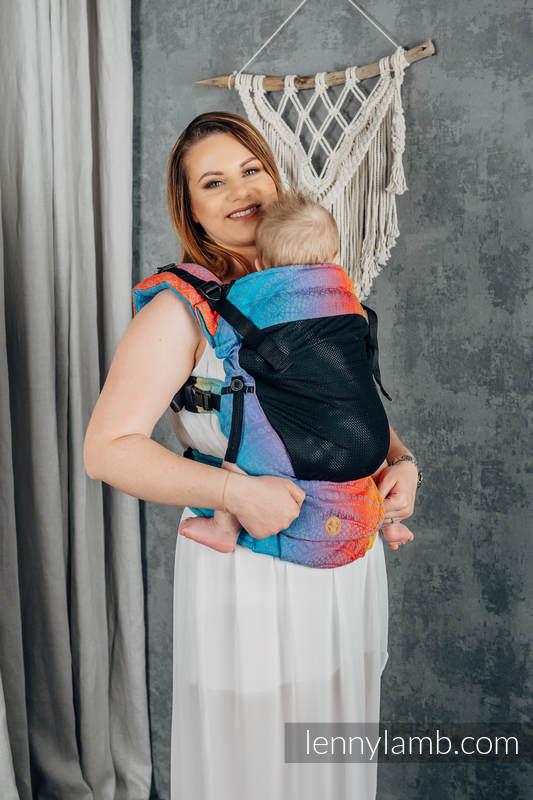 Nosidełko Siatkowe LennyUpGrade z tkaniny żakardowej (75% bawełna, 25% poliester) rozmiar standard - PAWI OGON - ZACHÓD SŁOŃCA  #babywearing