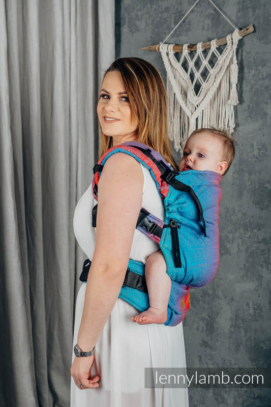 LennyUpGrade Carrier, Standard Size, jacquard weave 100% cotton - PEACOCK'S TAIL - SUNSET  #babywearing