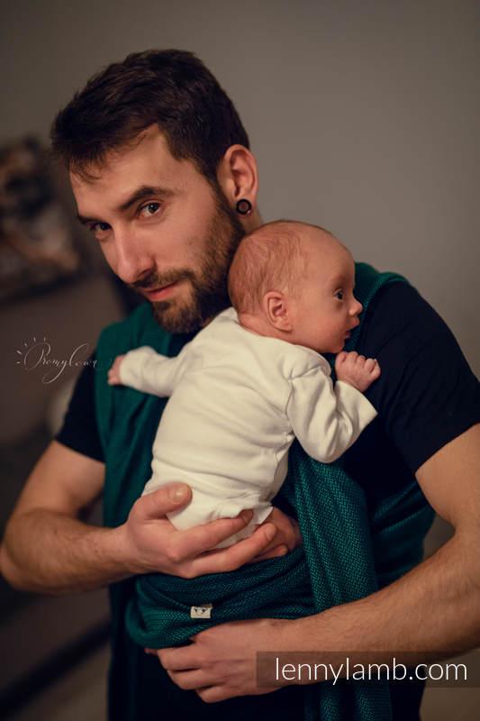 Chusta dla dzieci z niską wagą urodzeniową - SZMARAGD, splot jodełkowy (100% bawełna) - rozmiar S #babywearing