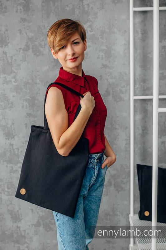 Shopping bag made of wrap fabric (100% cotton) - LITTLE HERRINGBONE EBONY BLACK #babywearing