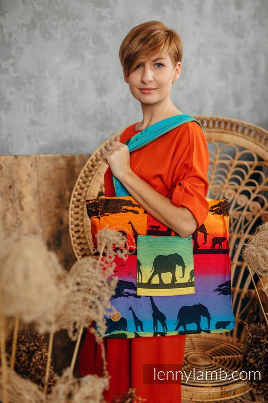 Shoulder bag made of wrap fabric (100% cotton) - RAINBOW SAFARI 2.0 - standard size 37cmx37cm #babywearing