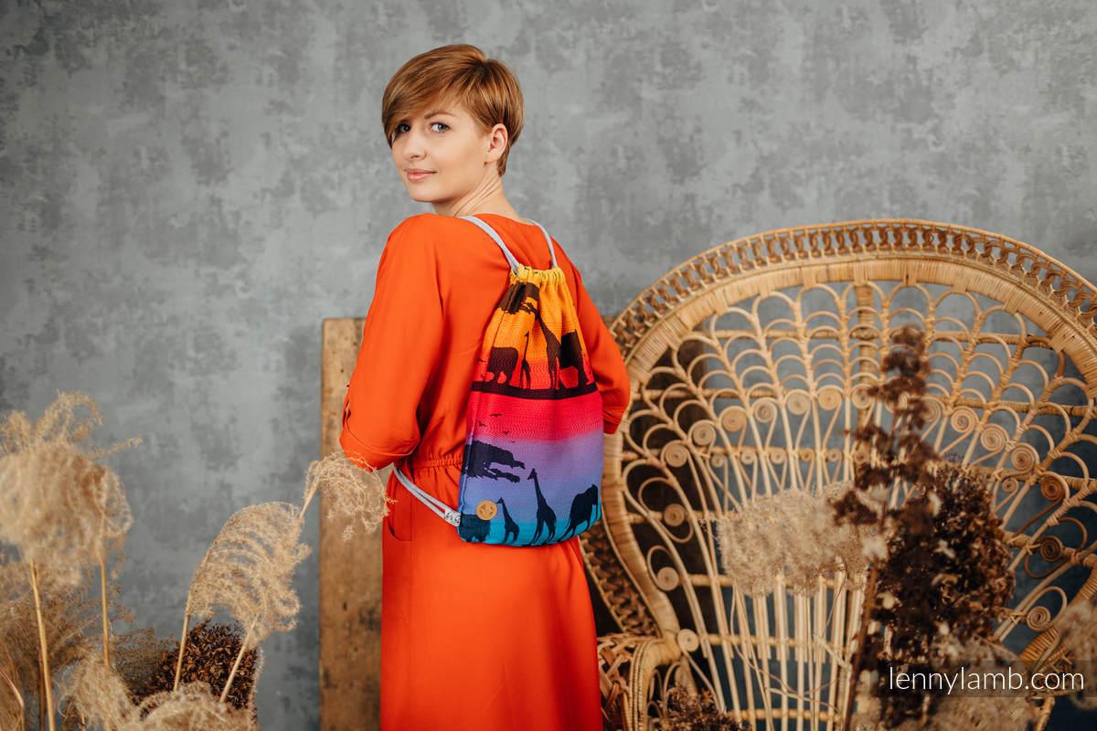 Sackpack made of wrap fabric (100% cotton) - RAINBOW SAFARI - standard size 32cmx43cm #babywearing