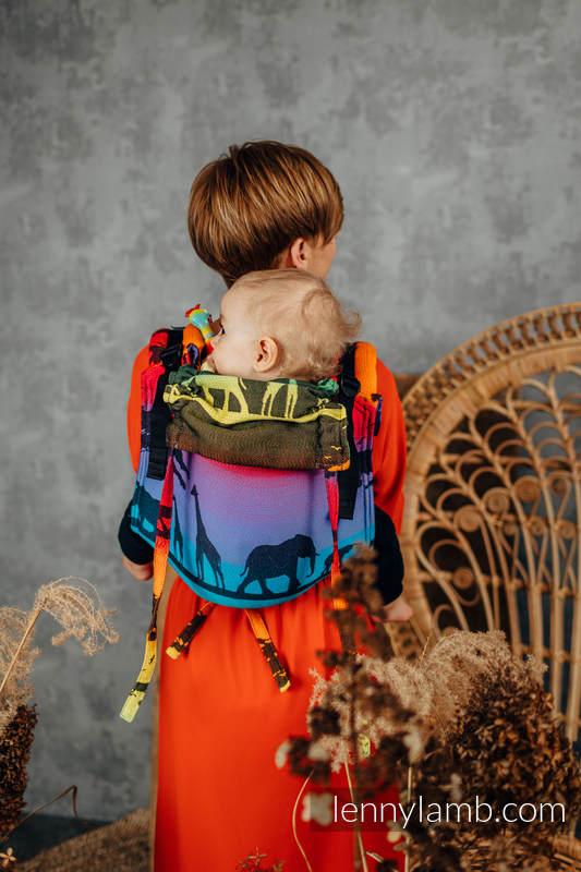 Lenny Buckle Onbuhimo baby carrier, standard size, jacquard weave (100% cotton) - RAINBOW SAFARI 2.0 #babywearing