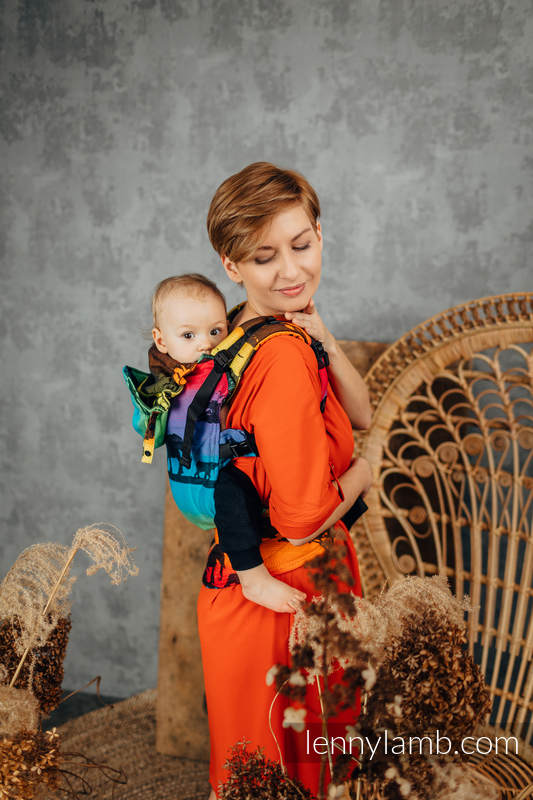 LennyGo Ergonomic Carrier, Baby Size, jacquard weave 100% cotton - RAINBOW SAFARI 2.0 #babywearing