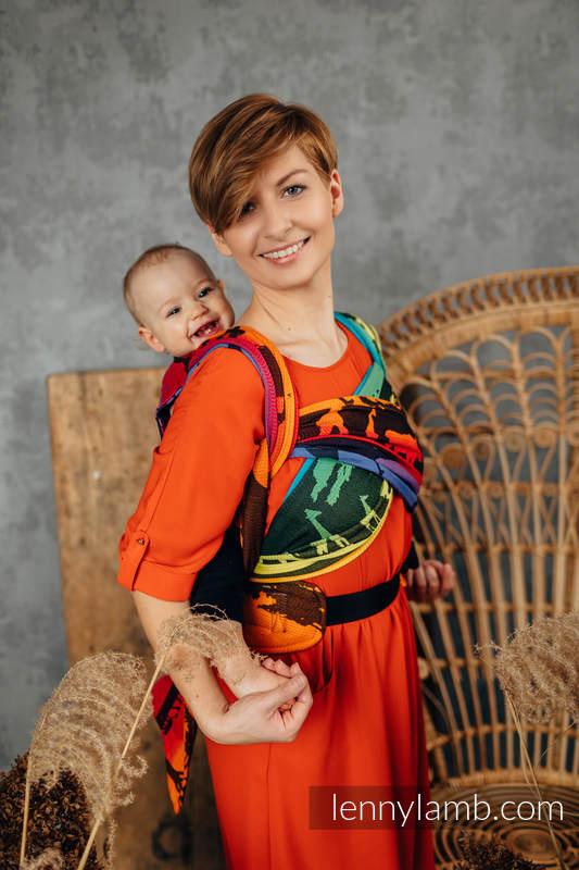 LennyHybrid Half Buckle Carrier, Standard Size, jacquard weave 100% cotton - RAINBOW SAFARI 2.0 #babywearing