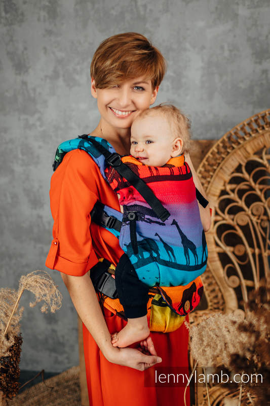 LennyUpGrade Carrier, Standard Size, jacquard weave 100% cotton - RAINBOW SAFARI 2.0 #babywearing
