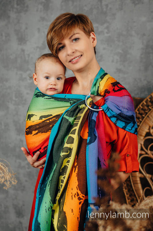 Ringsling, Jacquard Weave (100% cotton), with gathered shoulder - RAINBOW SAFARI 2.0- standard 1.8m #babywearing