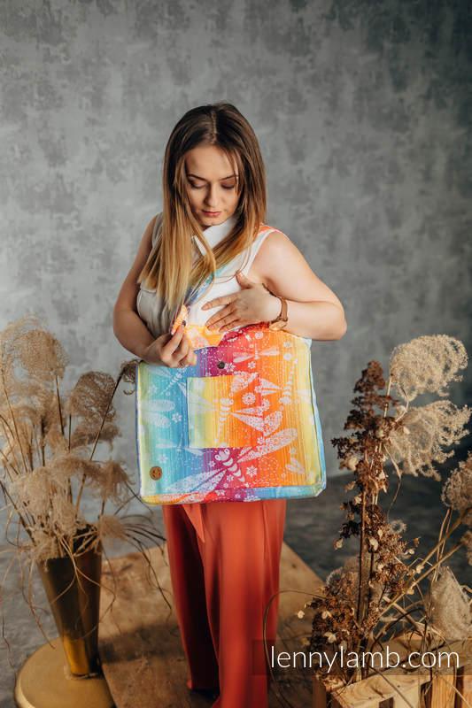 Shoulder bag made of wrap fabric (100% cotton) - DRAGONFLY RAINBOW - standard size 37cmx37cm #babywearing